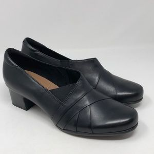 Unstructured by Clarks Women's Black Leather Heels